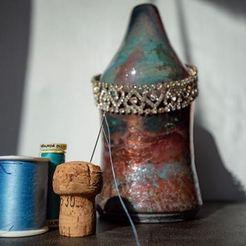 Raku pottery vase, blue, turquoise, salmon called 'Make it Work'