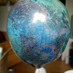 stunning blue raku Christmas ornament