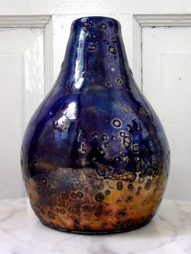Raku pottery vase, blue and gold, titled Merlin's Brew