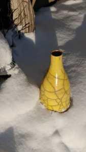 yellow raku pottery vase