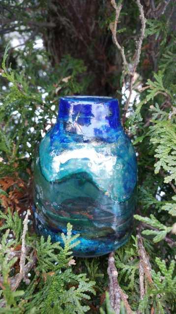 Raku Pottery Vase made in Canada