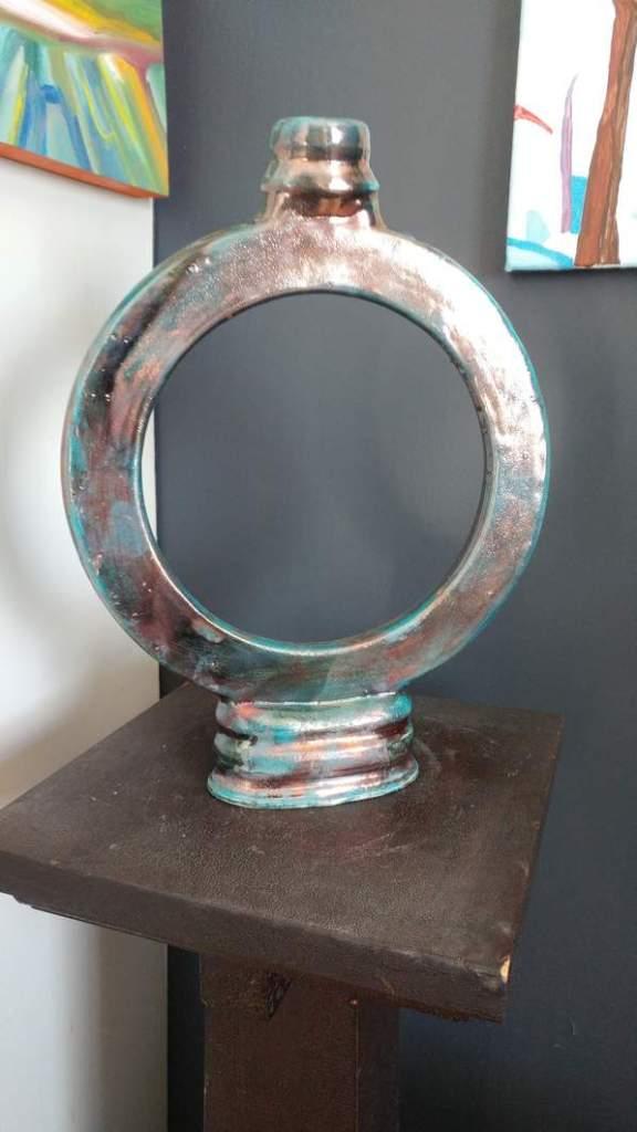 round raku pottery vase