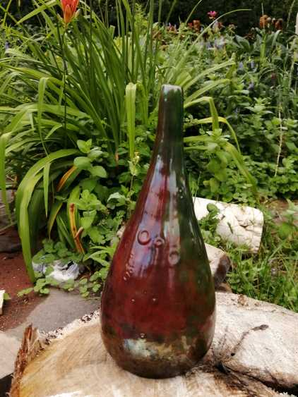 Raku Pottery Vase - Phoenix Reborn