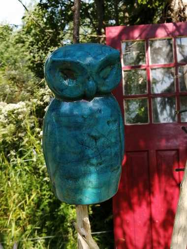 Raku Owl and Red Door