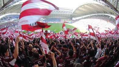 At Rakuten football has a special place. Vissel Kobe fans cheering on the team (C) VISSEL KOBE