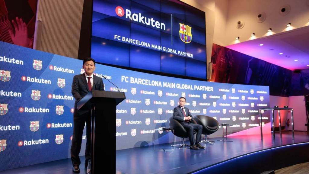 barcelona rakuten image 2 Mickey speaks at a press conference announcing Rakuten's partnership with FC Barcelona.