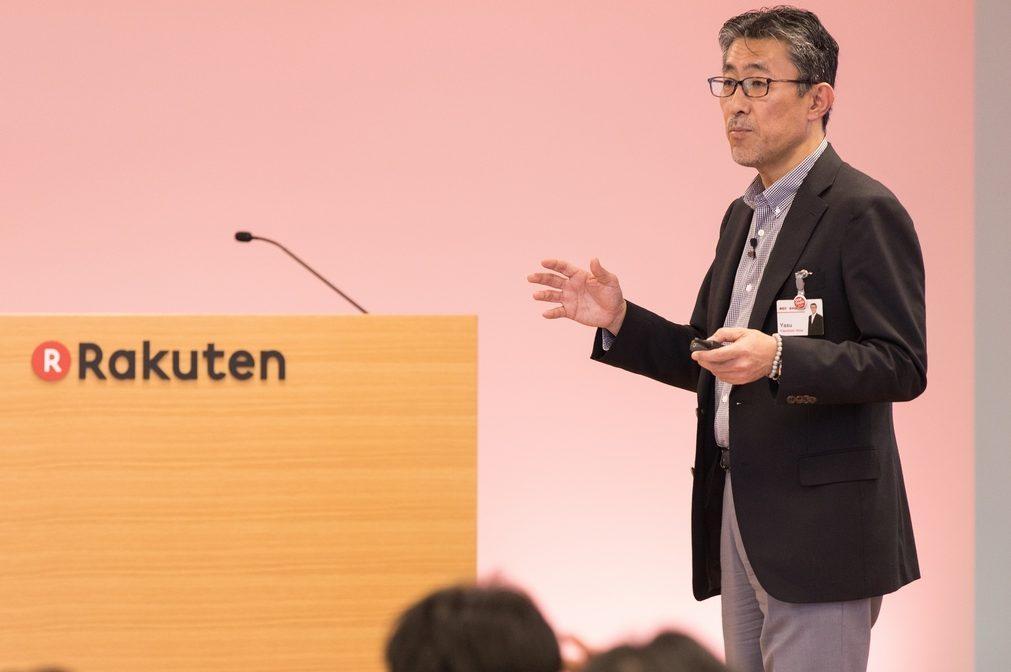 Rakuten CIO Yasufumi Hirai speaks about the intelligent society on stage at the Rakuten Technology Conference 2016