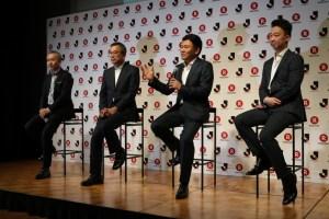 """(L to R) Hiroaki Dei, Mitsuru Murai, Hiroshi """"Mickey"""" Mikitani and Shunsuke Yazawa on stage at the ceremony."""