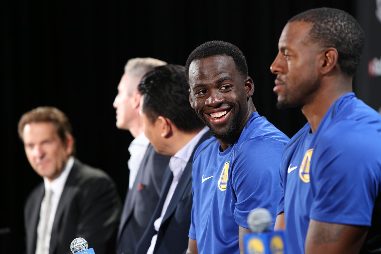 Warriors all-star Draymond Green smiles at jersey-badge partnership event with Rakuten
