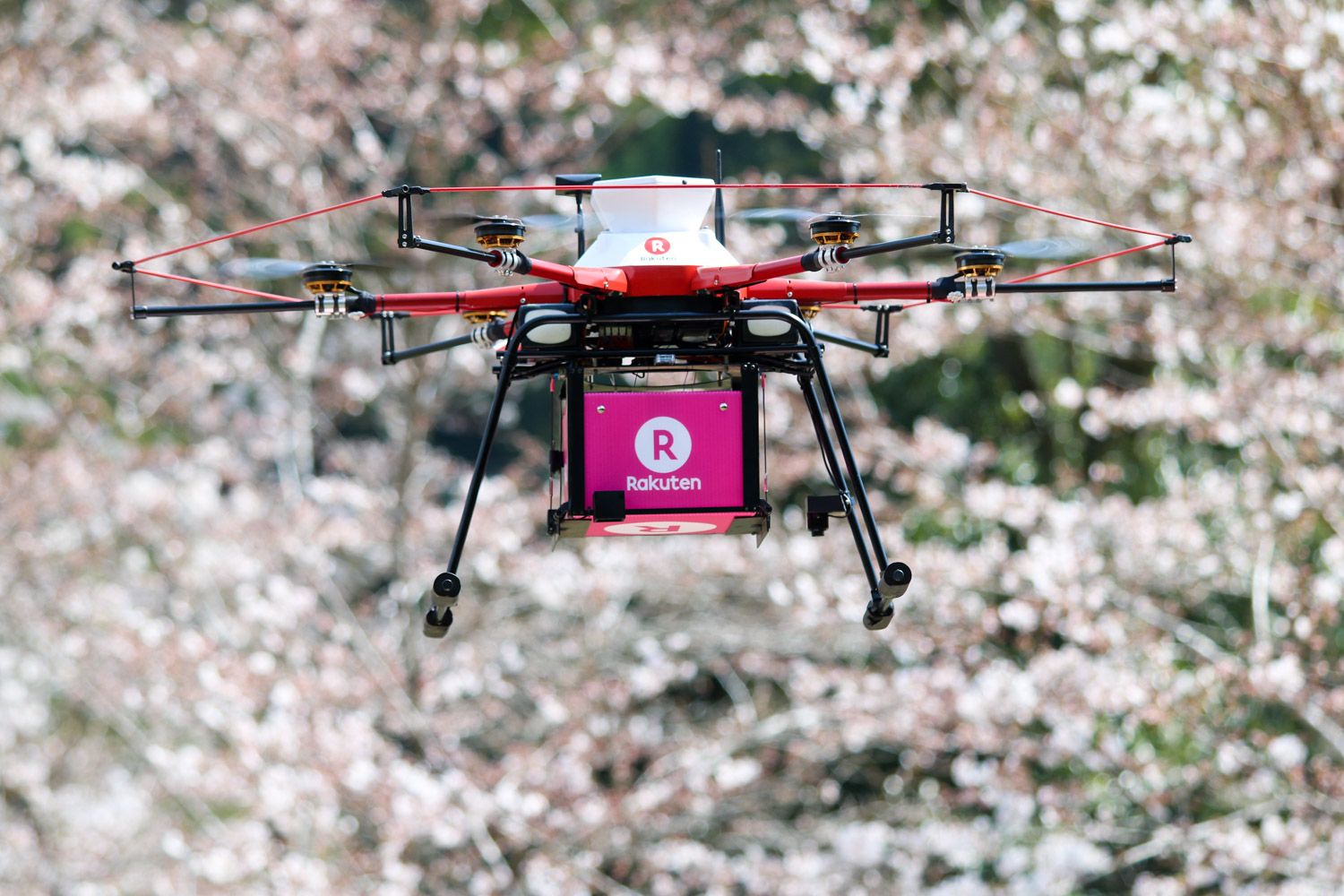 Rakuten Drone Delivery: Descending from the skies against a backdrop of pink-white cherry blossoms, a box full of soy sauce, ink, salt and coloring pencils became the first drone delivery to a private residence in Japan on Monday.