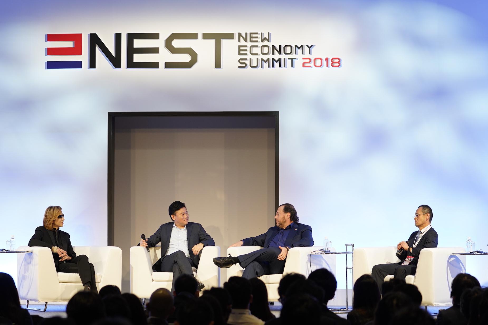A panel discussion between Hiroshi Mikitani, Marc Benioff, Nobel Laureate Dr. Shinya Yamanaka and iconic Japanese rockstar, Yoshiki, headlined NEST 2018.