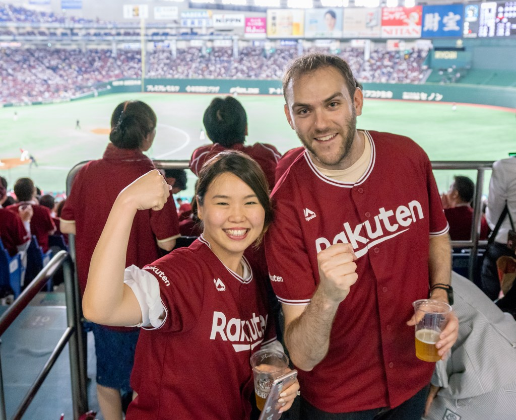 Maxim Labat (right) brought a friend along to experience an intense display of Rakuten culture.