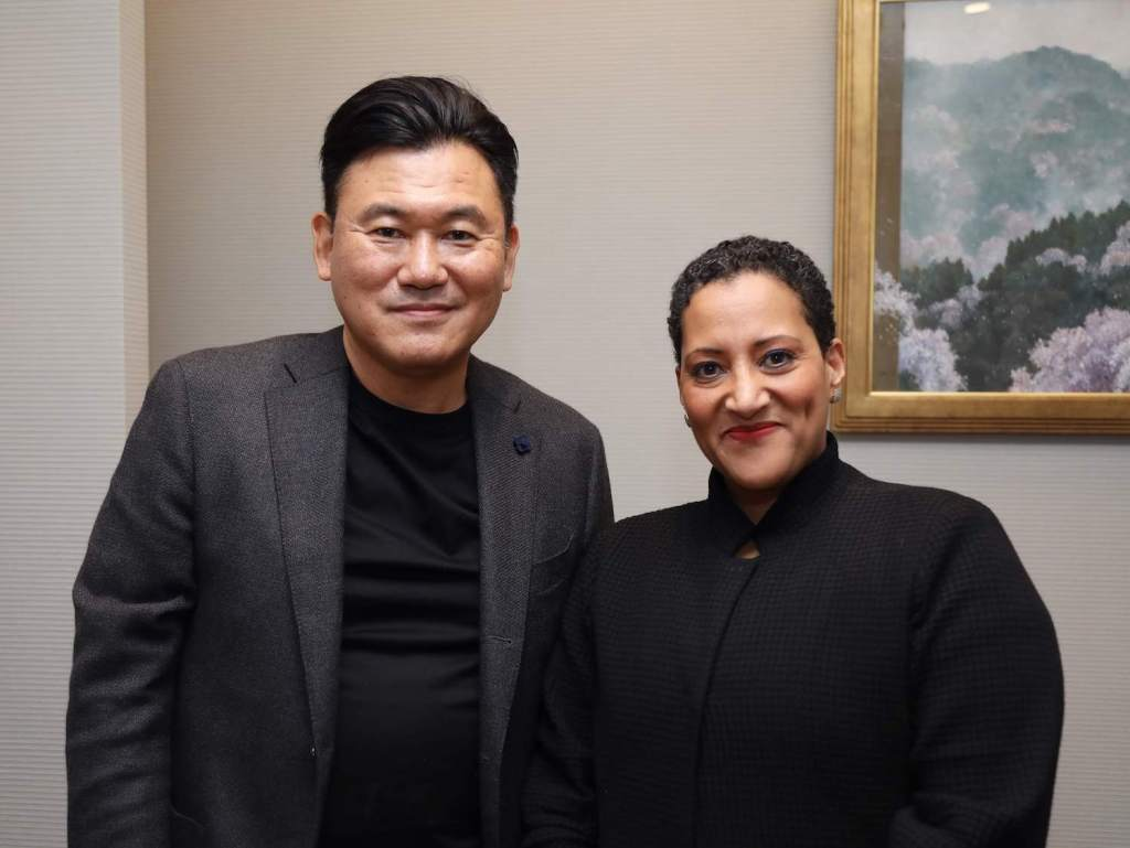 Professor Tsedal Neeley (right) with Mickey Mikitani during a visit to Tokyo in October 2018.