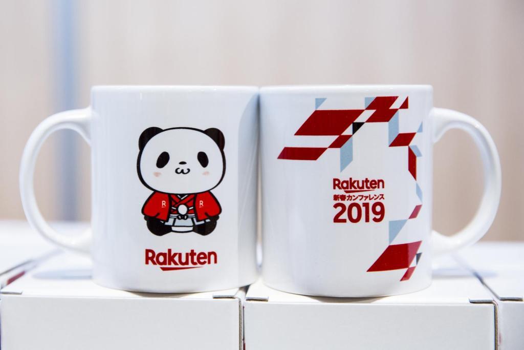 Conference mugs featuring beloved Rakuten Ichiba mascot the Rakuten Shopping Panda.