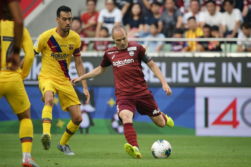 Former Barca legend Andres Iniesta faced off against ex-teammates for the first time since joining Vissel Kobe last year.