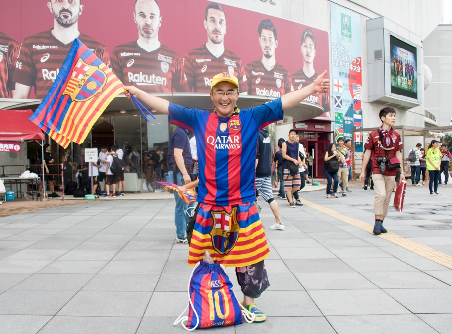 "Self-described ""Barca Ultra"" superfan Yamachan before the match."