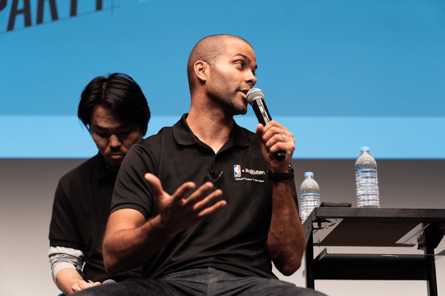 NBA legend Tony Parker speaking to fans during an NBA Rakuten Public Viewing Event in Tokyo.