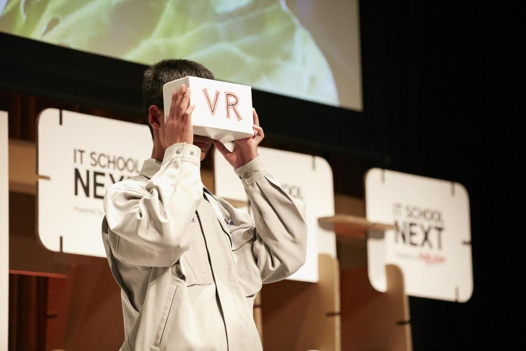 The team from Fugakukan High School near Mt. Fuji proposed using VR to communicate the beauty of their community.