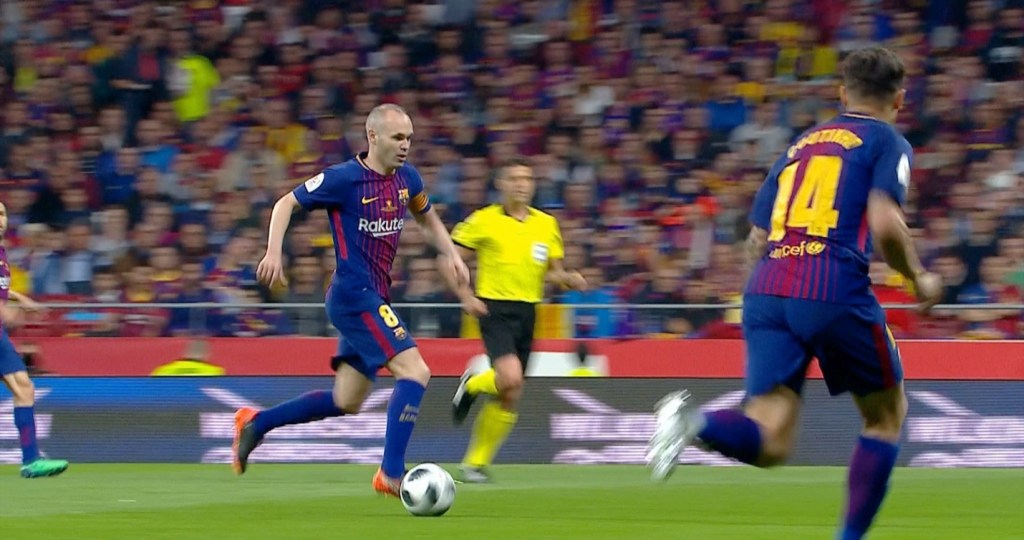 Iniesta, during his last season with FC Barcelona in 2017-2018
