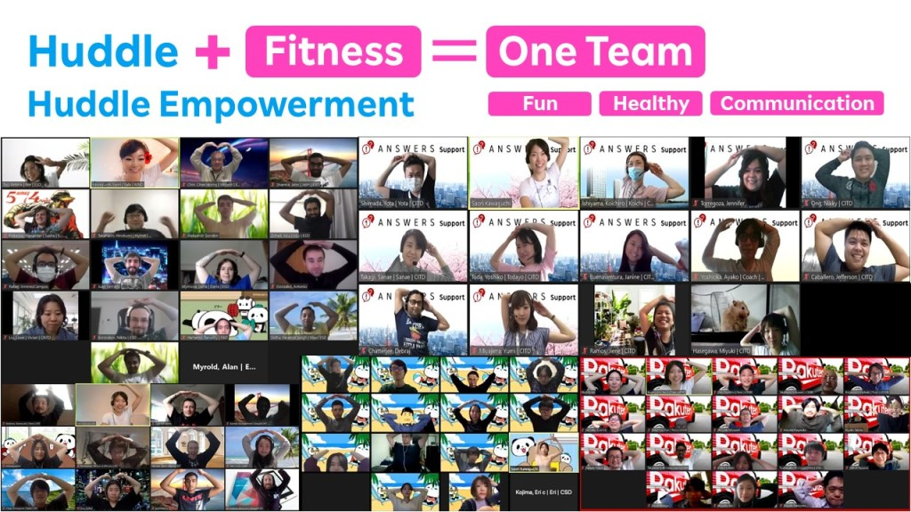 """Teams from across Rakuten in Japan participate in online """"huddle stretching."""""""