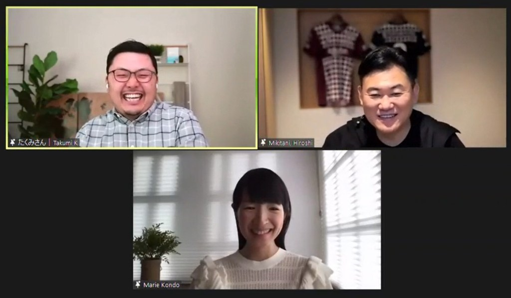 Rakuten CEO Mickey Mikitani (right) was joined by tidying guru Marie Kondo (center) and her husband, Co-founder and CEO of KonMari Media, Inc. Kawahara Takumi (left).