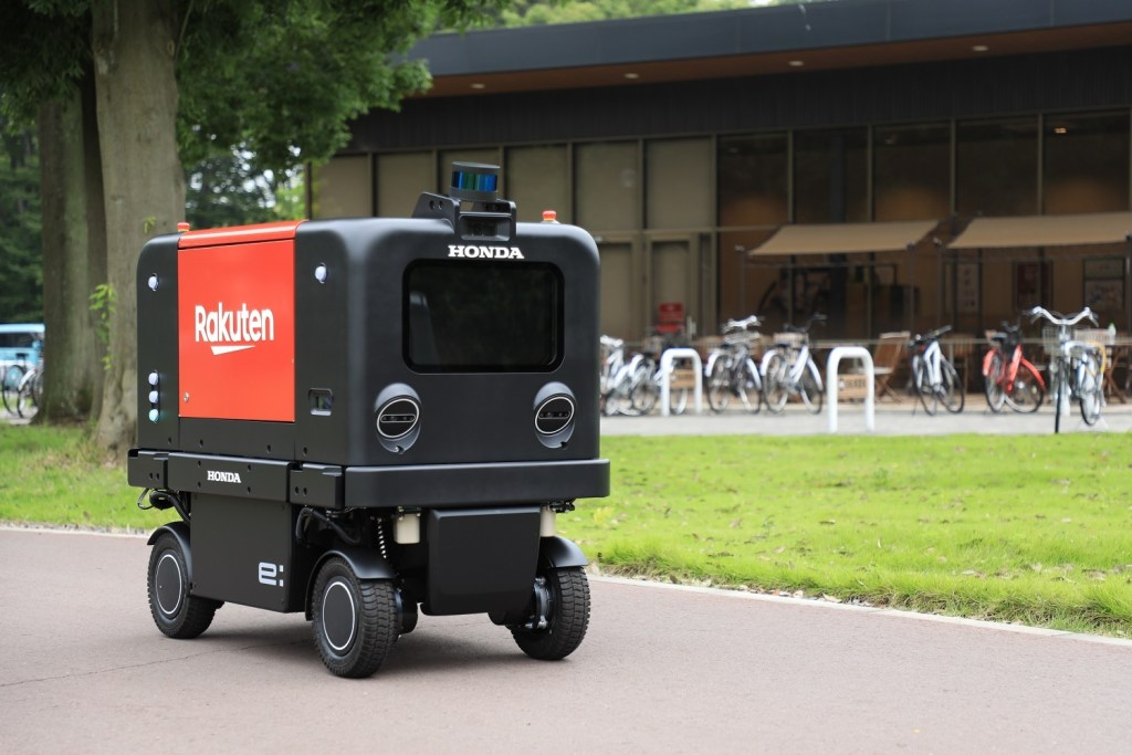 The vehicle was developed by Honda, with the delivery boxes and systems provided by Rakuten.