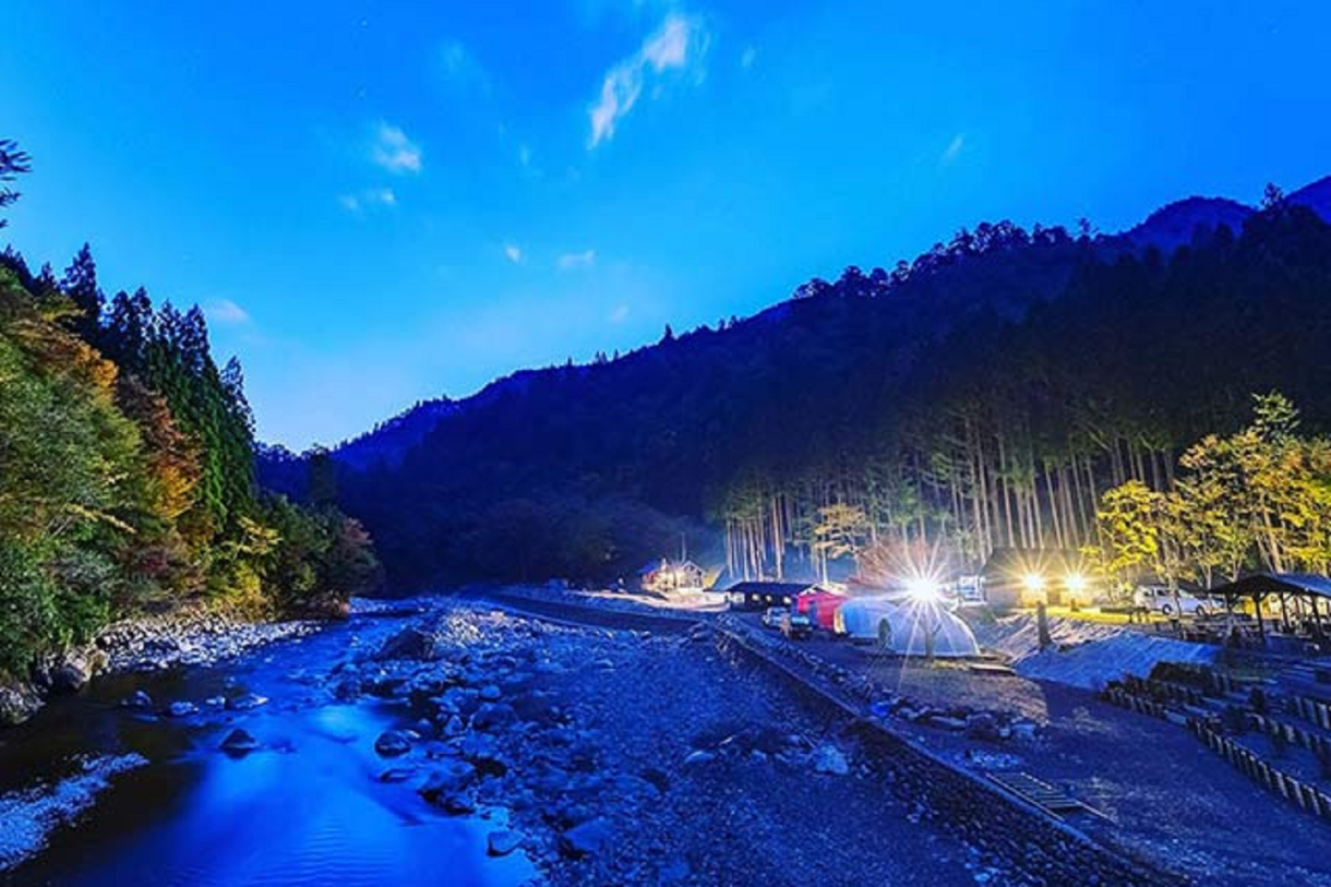 Nestled in the mountains of Tokushima Prefecture, Camp Park Kito offers a tranquil riverside camping experience.