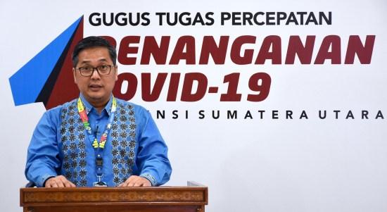 Juru Bicara Gugus Tugas Percepatan Penanganan Covid-19 Sumut. Foto : Biro Humas dan Keprotokolan Setdaprov Sumut / Imam Syahputra