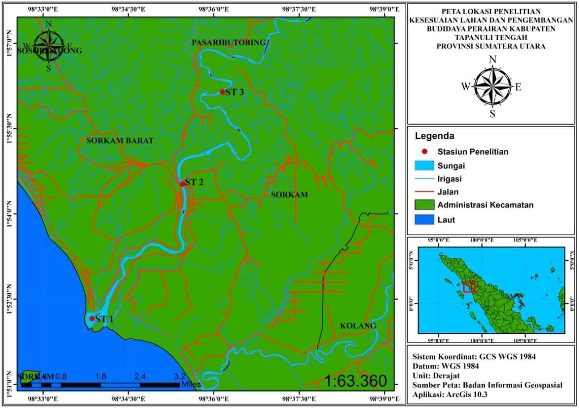 Gambar A. Aliran Sungai Sibundong Kecamatan Sorkam, Kabupaten Tapanuli Tengah (Badan Informasi Geospasial Republik Indonesia, 2018 dengan menggunakan ArcGis versi 16,3).