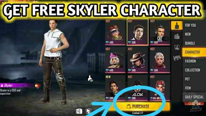 Free Fire Me Free Skyler Character Kaise Le