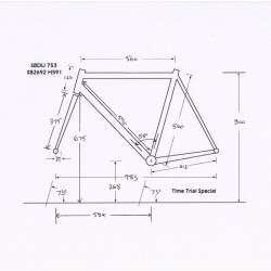 Raleigh SBDU Ilkeston Time Trial Special Dimension Measurements H Reference