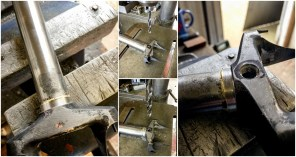 Dave Yates Frame Building Course Day 3 Fork Crown Brake Bilt Hole Marked Drilled and Countersunk