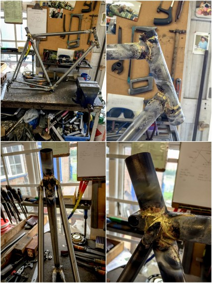 Dave Yates Frame Building Course Day 3 Frame out of the Jig