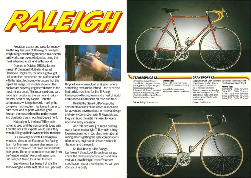 Raleigh Catalogue 1982 Featuring JR178T Jan Raas Track Frame Page 1 and 2