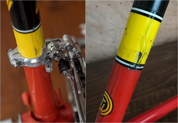 SBDU TI-Raleigh Seat Tube Panels Four Stripes Process Two Yellow Transfer Panel