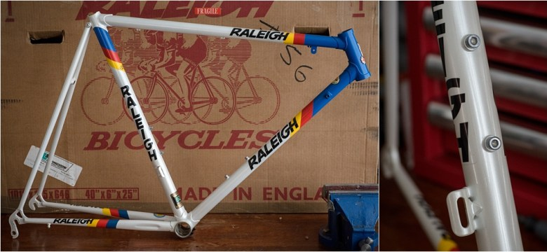 Seat Tube RALEIGH Transfer Placement Against Bottle Bosses