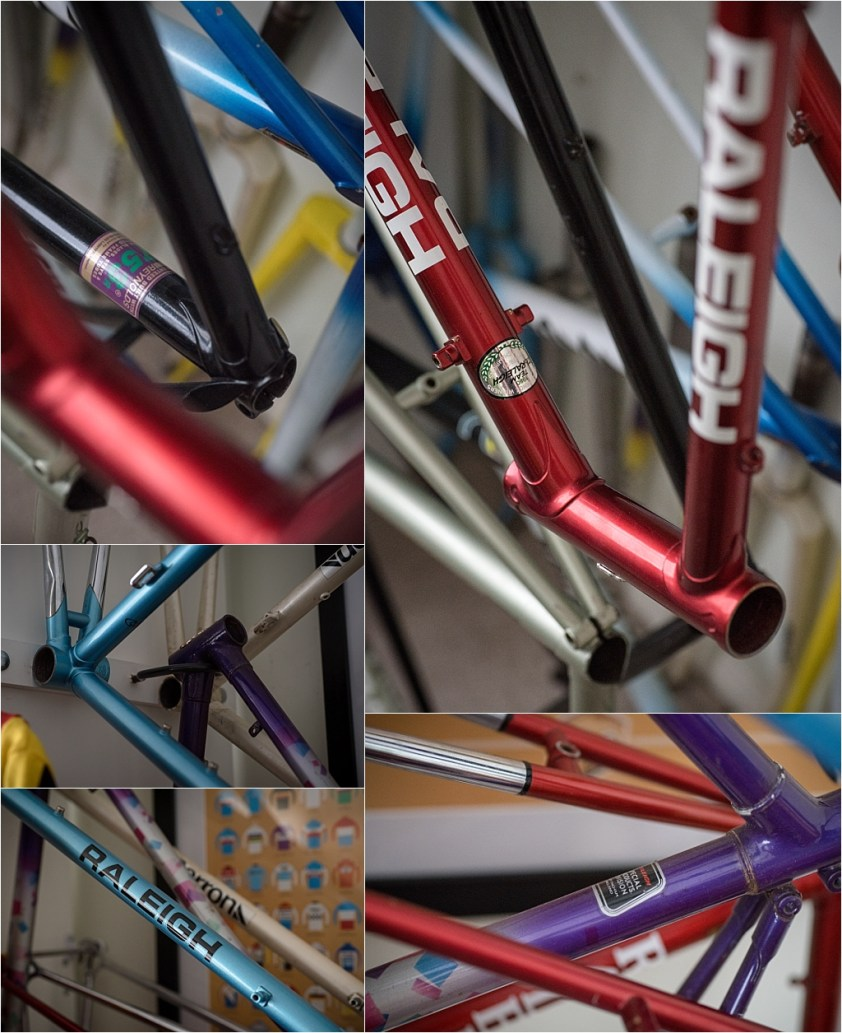 My TI-Raleigh SBDU Collection Waiting in the Workshop Hanging