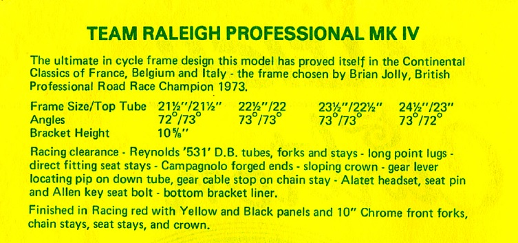1973 Team Raleigh Professional MK IV Description
