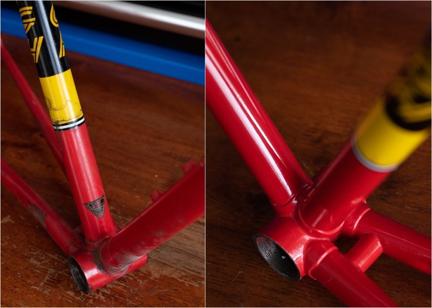SBDU Paint Preservation SB9 My TI-Raleigh Seat Tube Before and After