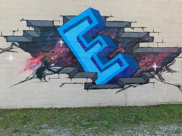 E letter mural in Downtown Raleigh