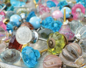 Glass Drawer Pulls, $8. Lovely knobs in all sorts of colors and textures make easy upgrades to flea market furniture.