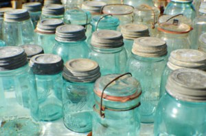Blue Quart-Sized Mason Jars, $8 and $10. Group these beauties in a light-filled window or fill them with bright flowers.