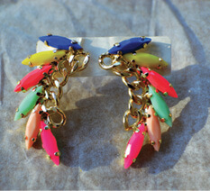 Neon and Gold-Tone Earrings, $6. Flashes of highlighter neon anchored with classic gold.