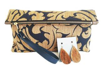 Victoria Clutch with Brown Calf Hair Earrings