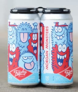 Pictures of Trophy Brewing's new mural decorate their beer cans.