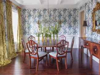 A traditional dining room styled by Tula Summerford, of Design by Tula.