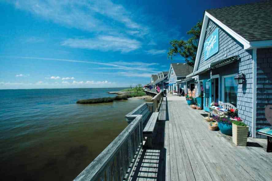 Waterfront shops along the boardwalk in Duck, NC.