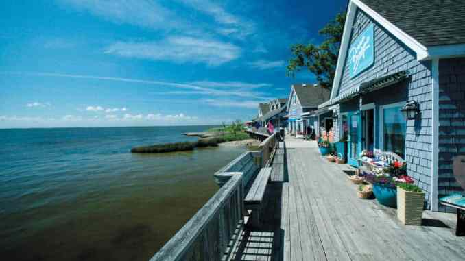 Waterfront shops along the boardwalk in Duck, NC.