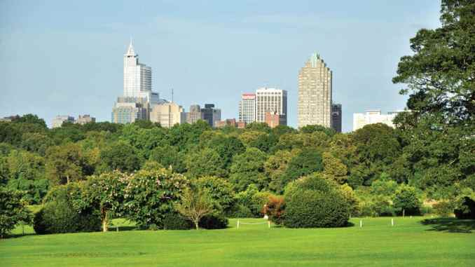 The Dix Park property, with the Raleigh skyline in the background.