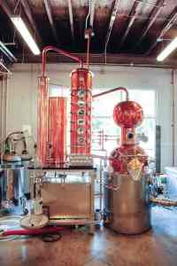 Distilling machines at Durham Distillery
